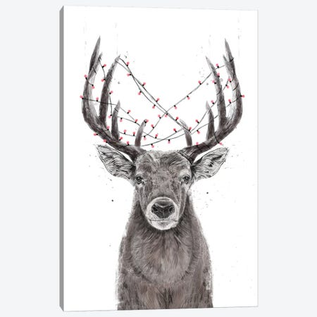Xmas Deer Canvas Print #BSI209} by Balazs Solti Canvas Art