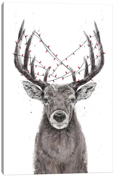 Xmas Deer Canvas Art Print