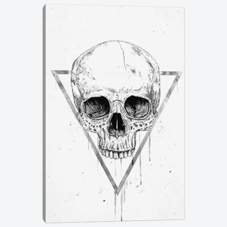 Skull In A Triangle Black & White Canvas Print #BSI215} by Balazs Solti Canvas Wall Art