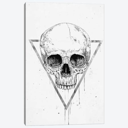 Skull In A Triangle Black & White Canvas Print #BSI215} by Balazs Solti Canvas Wall Art