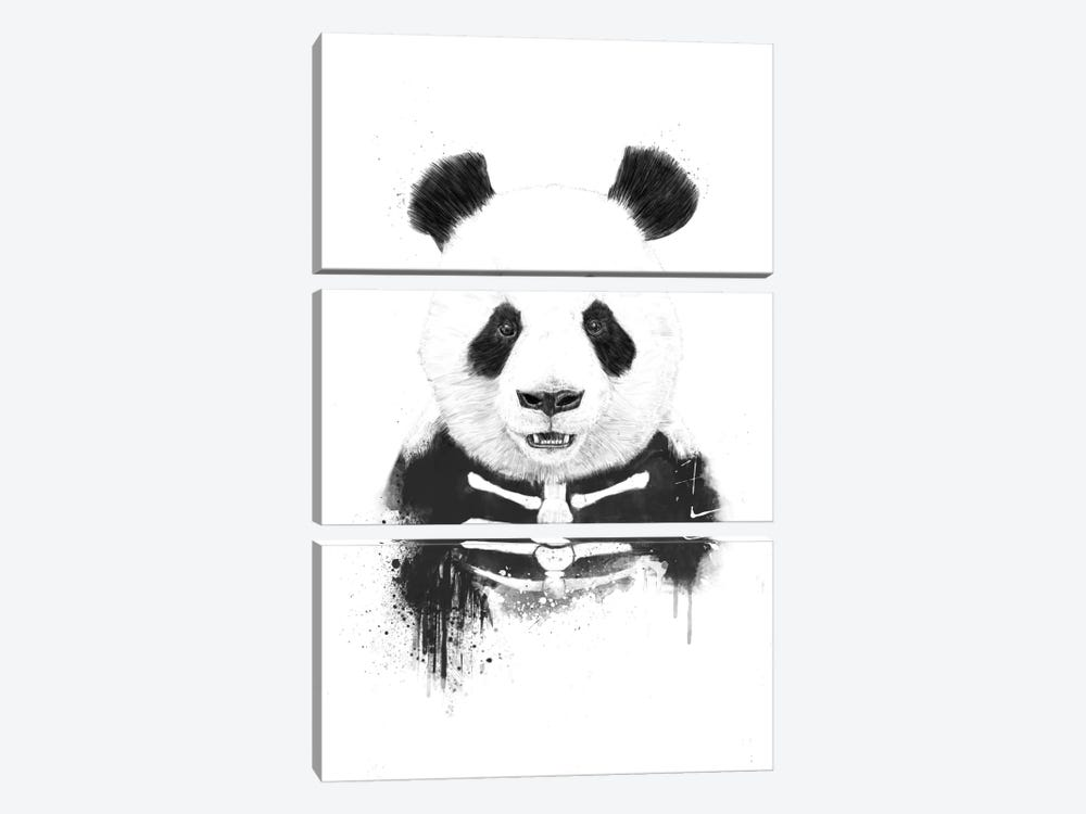Zombie Panda by Balazs Solti 3-piece Canvas Artwork