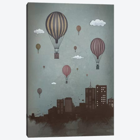 Balloons & The City Canvas Print #BSI30} by Balazs Solti Canvas Artwork