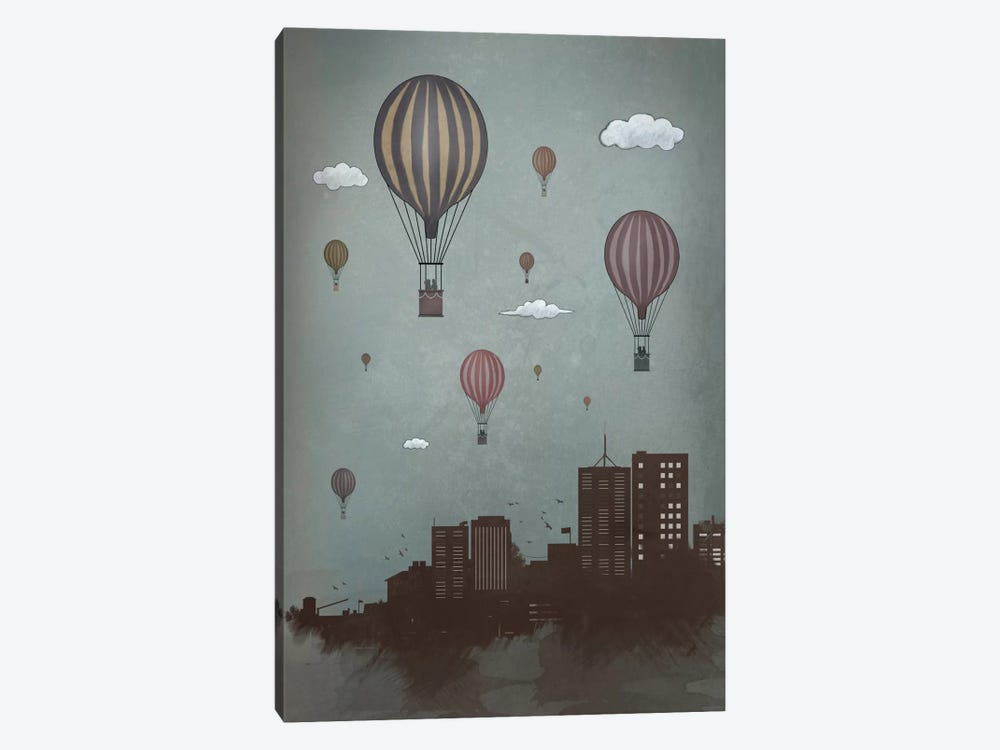 Balloons & The City by Balazs Solti 1-piece Canvas Print