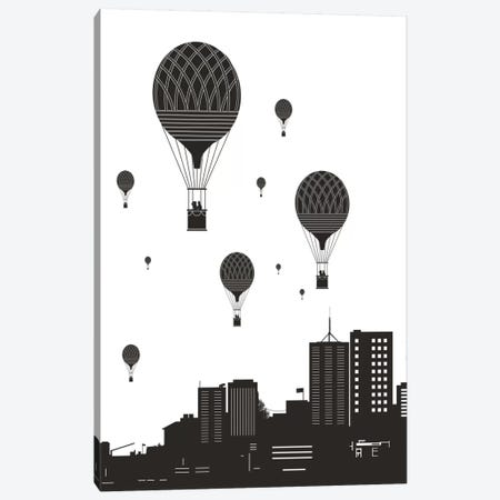 Balloons And The City Canvas Print #BSI31} by Balazs Solti Canvas Wall Art