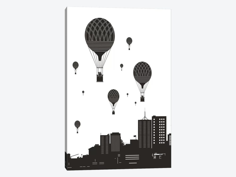 Balloons And The City by Balazs Solti 1-piece Canvas Art