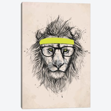 Hipster Lion (Light Version) Canvas Print #BSI64} by Balazs Solti Canvas Art