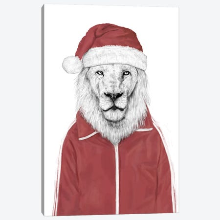 Santa Lion Canvas Print #BSI92} by Balazs Solti Canvas Artwork