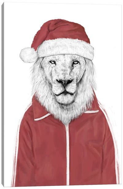 Santa Lion Canvas Art Print