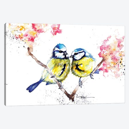 Blue Tits And Blossom Canvas Print #BSR13} by BebesArts Art Print