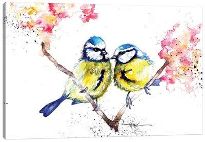 Blue Tits And Blossom Canvas Art Print