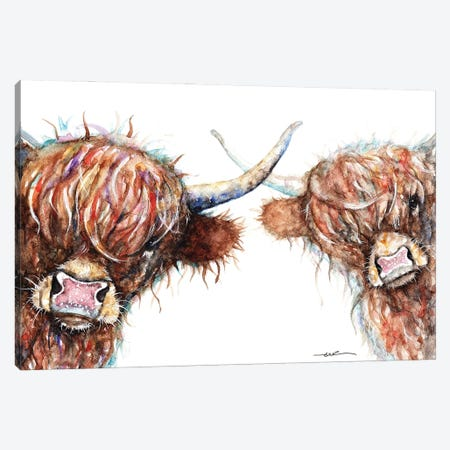 Curious Highland Cows Canvas Print #BSR16} by BebesArts Canvas Wall Art