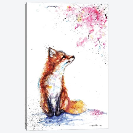 Fox And Blossom Canvas Print #BSR27} by BebesArts Canvas Print