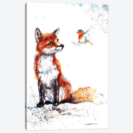 Fox And Robin Canvas Print #BSR28} by BebesArts Canvas Wall Art