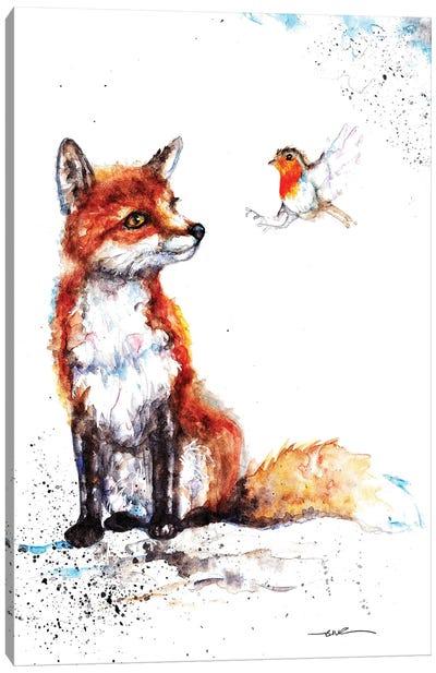 Fox And Robin Canvas Art Print