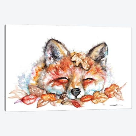 Fox N Leaves Canvas Print #BSR29} by BebesArts Canvas Art