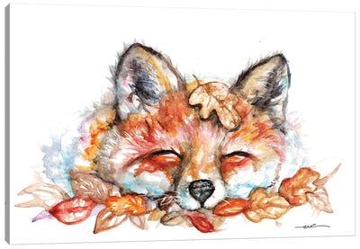 Fox N Leaves Canvas Art Print