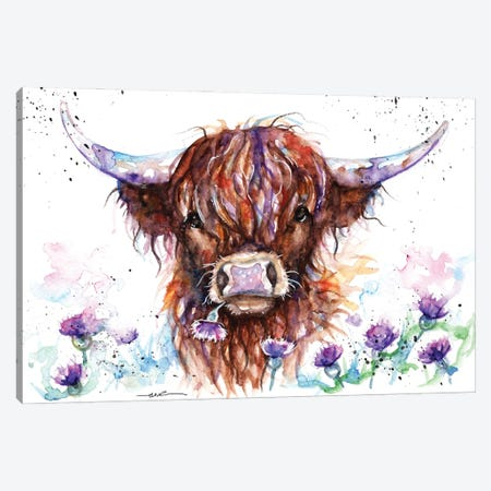 Highland Cow Among The Thistles Canvas Print #BSR32} by BebesArts Canvas Art Print