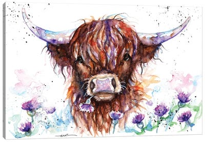 Highland Cow Among The Thistles Canvas Art Print