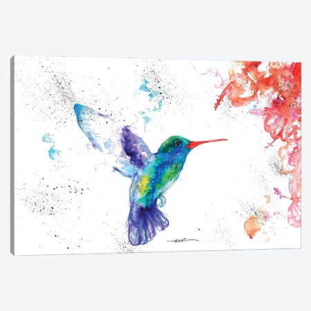 Hummingbird And Blossom I Canvas Print #BSR36} by BebesArts Canvas Wall Art