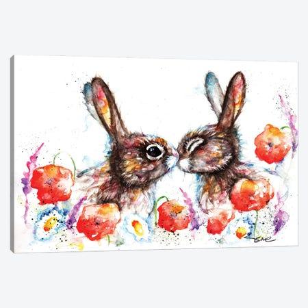 Meadow Rabbits Canvas Print #BSR53} by BebesArts Art Print