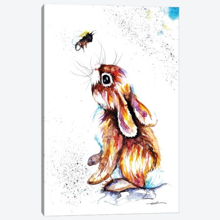Rabbit And Bee I Canvas Print #BSR59} by BebesArts Canvas Print