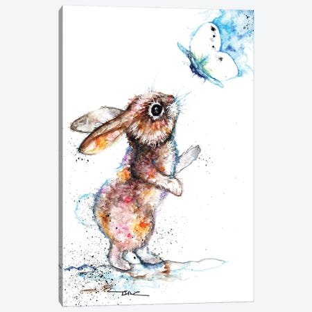 Rabbit And Cabbge White Canvas Print #BSR64} by BebesArts Art Print