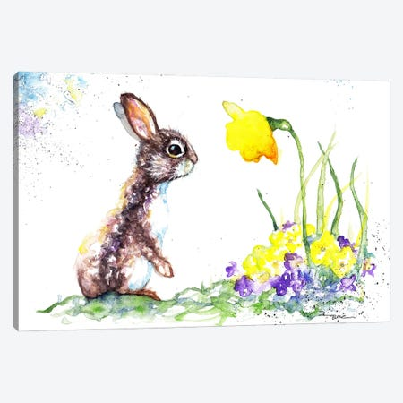 Rabbit And Spring Flowers Canvas Print #BSR66} by BebesArts Canvas Art Print