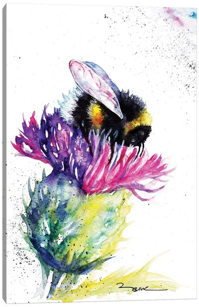 Bee And Thistle Canvas Art Print