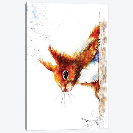 Red Squirrel III 3-Piece Canvas #BSR70} by BebesArts Canvas Print