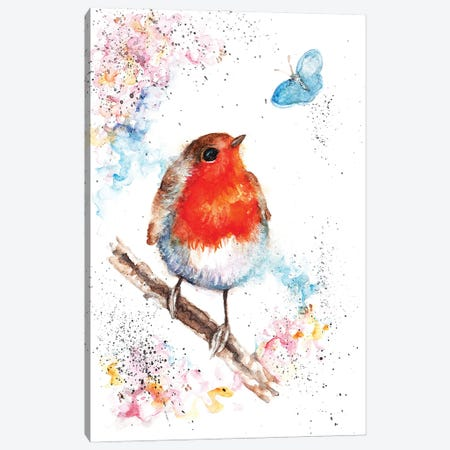 Robin And Small Blue Canvas Print #BSR71} by BebesArts Canvas Print