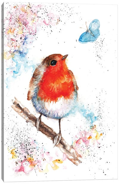 Robin And Small Blue Canvas Art Print