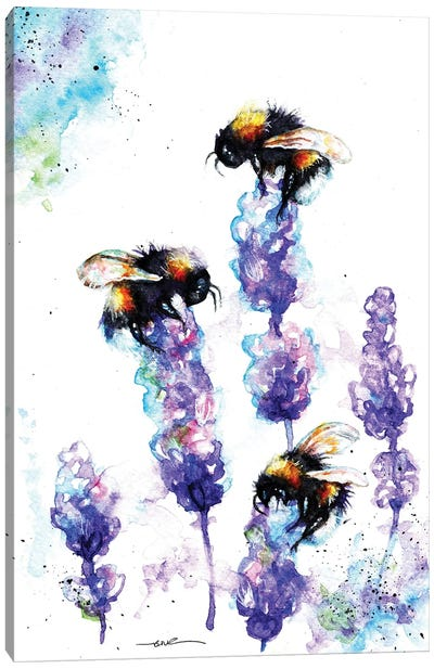 Bees And Lavender Canvas Art Print