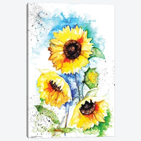 Sunflowers 3-Piece Canvas #BSR80} by BebesArts Canvas Wall Art