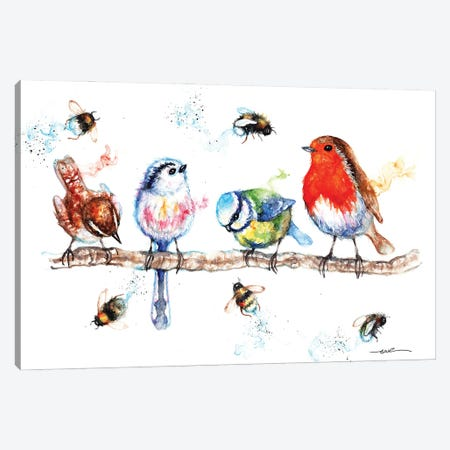 The Birds And The Bees Canvas Print #BSR81} by BebesArts Canvas Wall Art