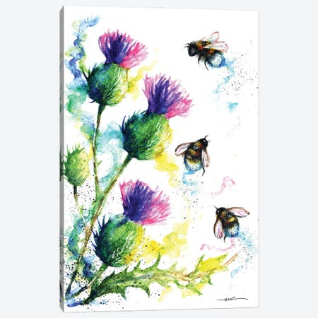 Bees And Thistles Canvas Print #BSR8} by BebesArts Canvas Art