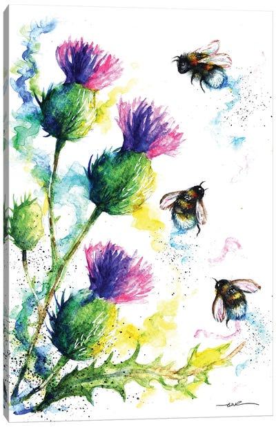 Bees And Thistles Canvas Art Print