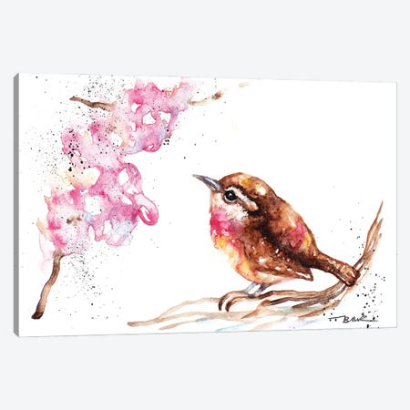Wren And Blossom Canvas Print #BSR91} by BebesArts Canvas Print