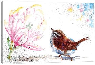 Wren And Magnolia Canvas Art Print
