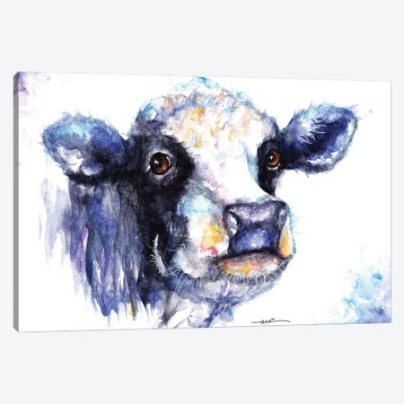 Black And White Cow Canvas Print #BSR9} by BebesArts Canvas Art