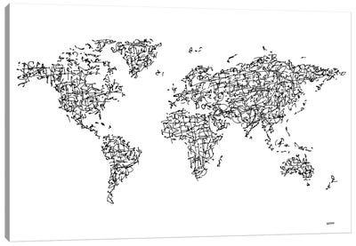 Kanji World Map Canvas Art Print