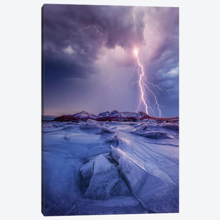 Iced Lightening Canvas Print #BSV17} by Brent Shavnore Canvas Wall Art
