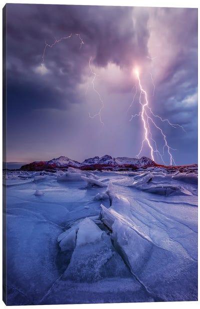 Iced Lightening Canvas Art Print