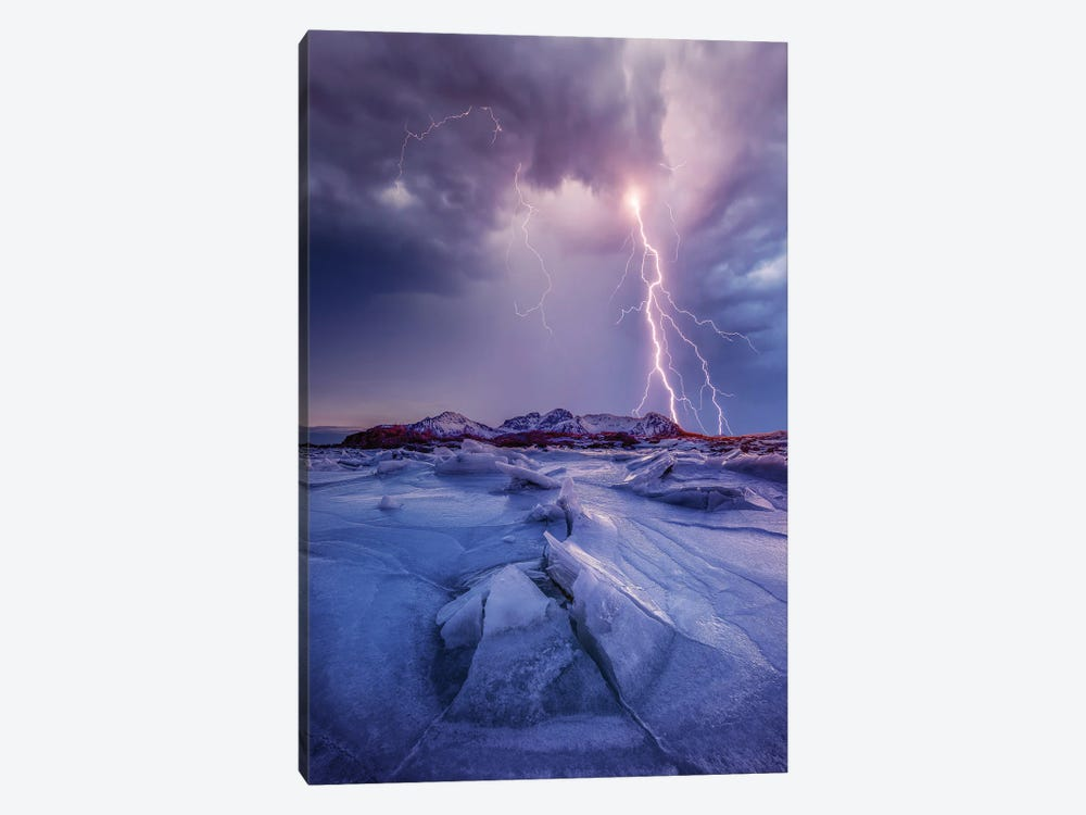 Iced Lightening by Brent Shavnore 1-piece Canvas Art Print