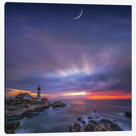 Under The Cape Elizabeth Moon Canvas Print #BSV21} by Brent Shavnore Canvas Wall Art