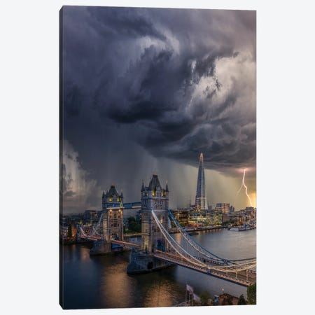 London Downpour Canvas Print #BSV39} by Brent Shavnore Art Print