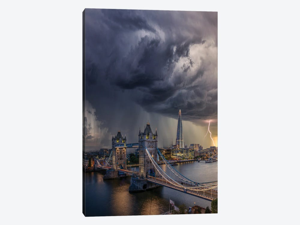 London Downpour by Brent Shavnore 1-piece Art Print