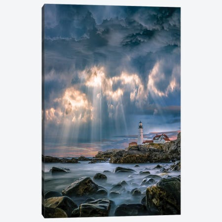 Cape Elizabeth Sunburst Canvas Print #BSV49} by Brent Shavnore Canvas Artwork