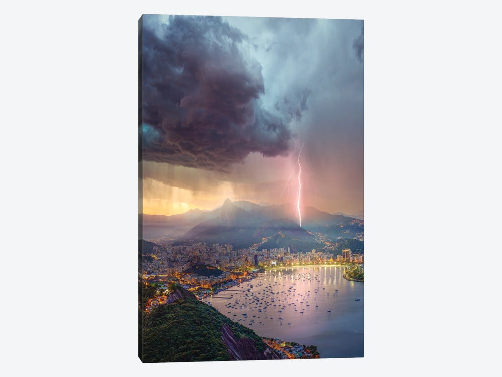 Pink Lights Over Rio by Brent Shavnore 1-piece Canvas Art