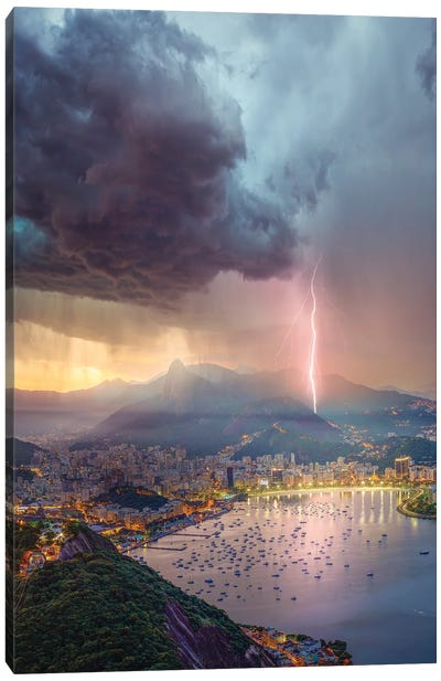 Pink Lights Over Rio Canvas Art Print
