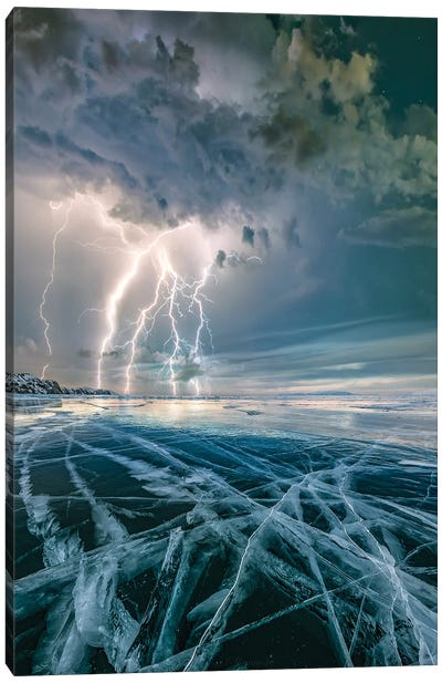 Ice Lightning Canvas Art Print